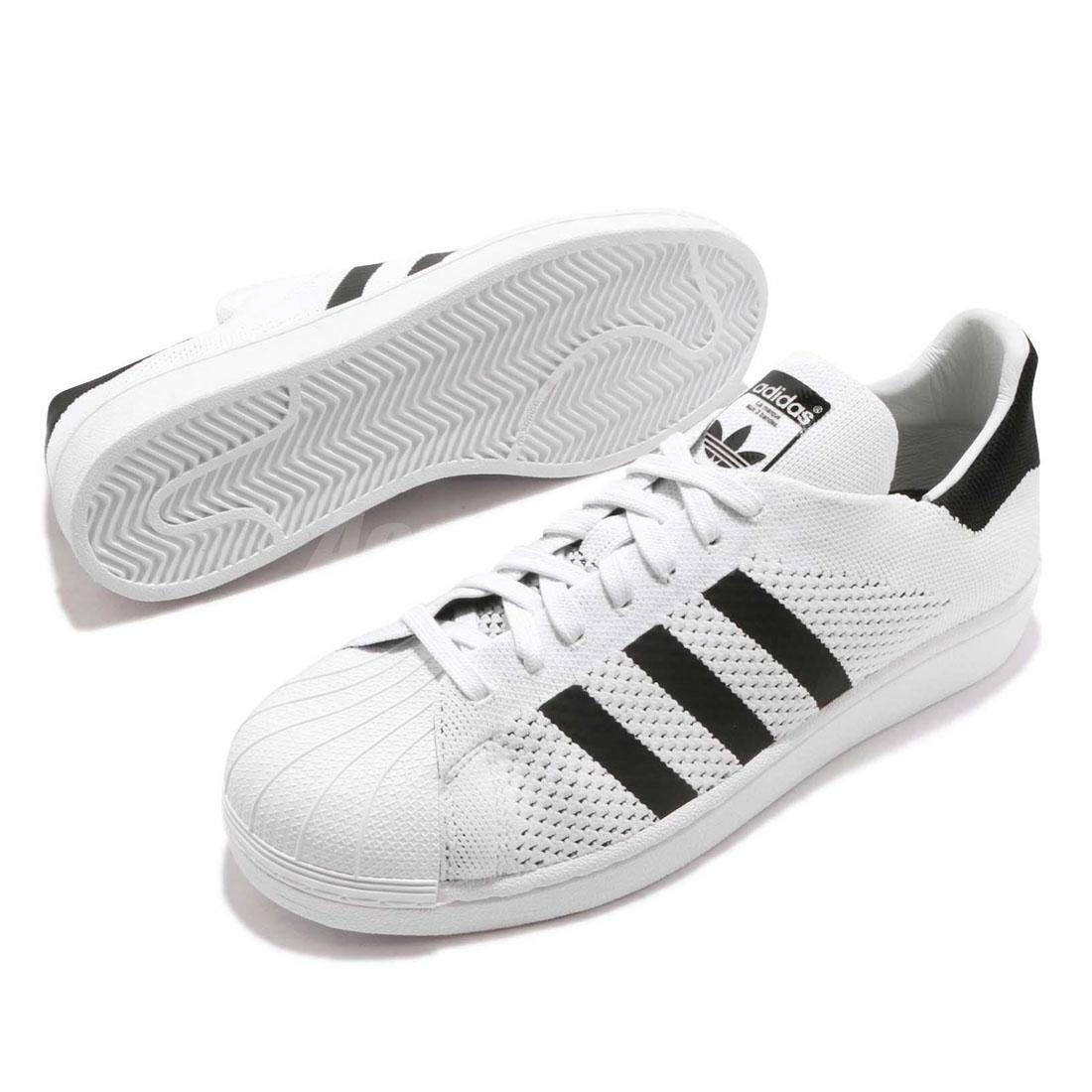 Adidas Originali Superestrella Primeknit Pezzi Sautope Bianco Nero con Lacci da Uomo Sautope classeiche da uomo
