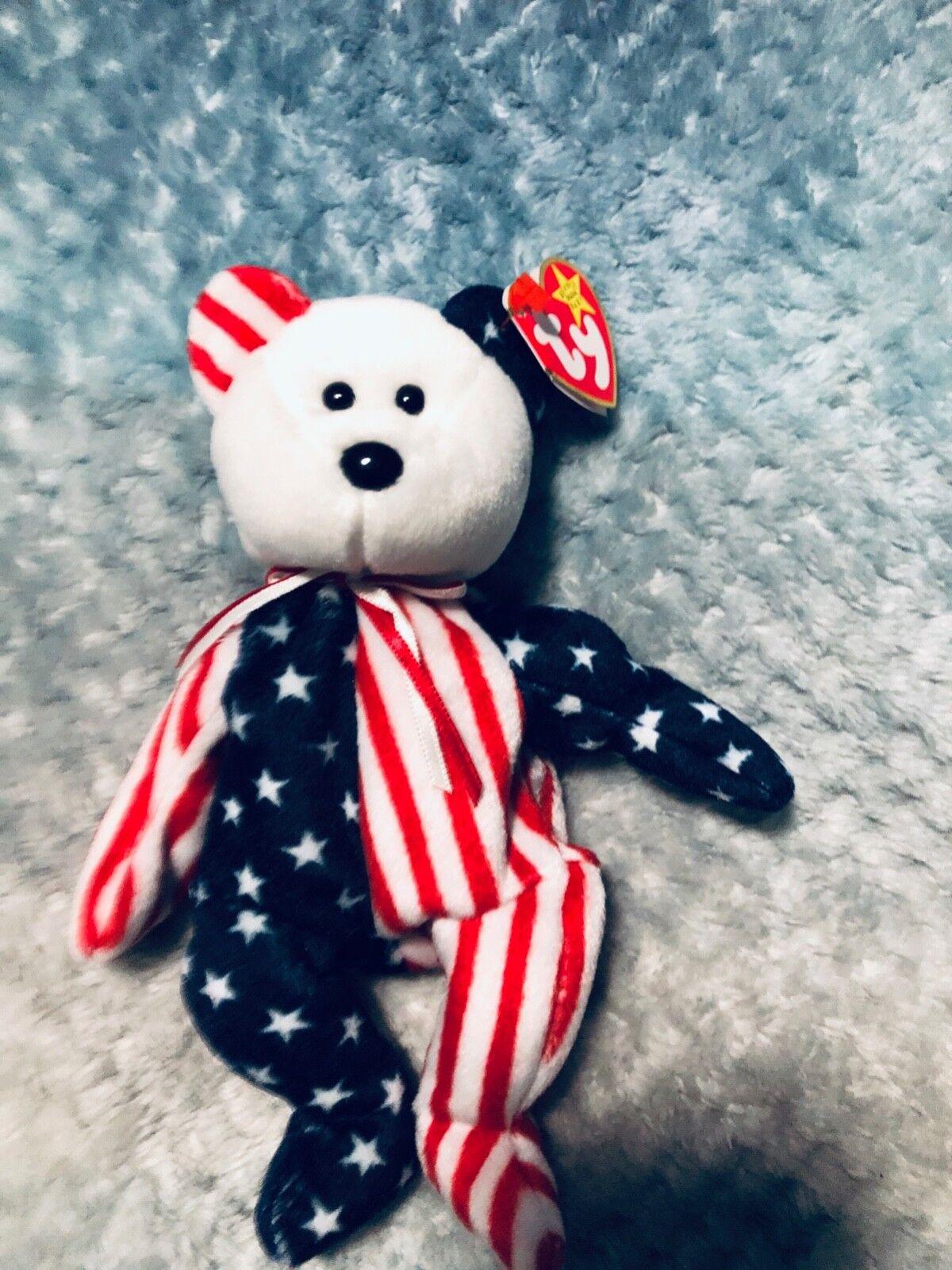 Ty 1999  Blaumenmuster  der amerikanischen flagge teddybär  stars and stripes