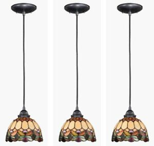 3 New Tiffany Style 7 Quot Stained Glass Dark Bronze 1 Light