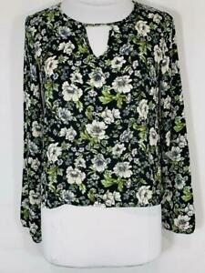 NWT-039-s-Forever-21-Black-Green-floral-Blouse-Keyhole-crop-Top-sz-Large