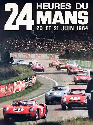 1964 24 Hours Le Mans French Automobile Race Advertisement Vintage Poster