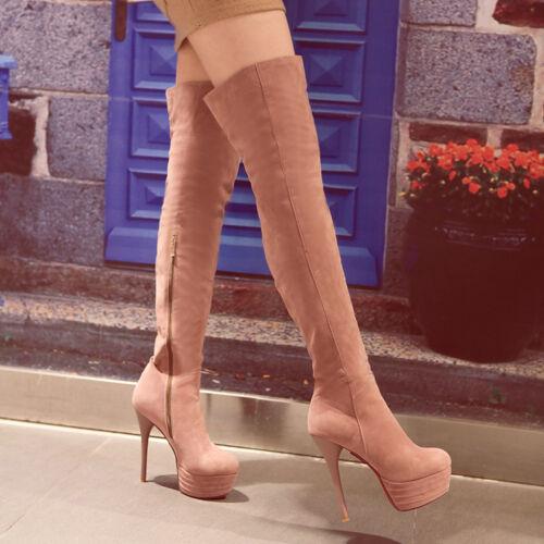 Womens Stilettos Over knee Boots Zip Platform Winter Shoes High Heel ALL UK Sz