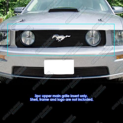 Fits 2005-2009 Ford Mustang GT V8 Model with logo show Black Billet Grille