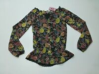 Scooter Brown Girls Size Large (14) Sheer Floral Shirt With Built In Tank
