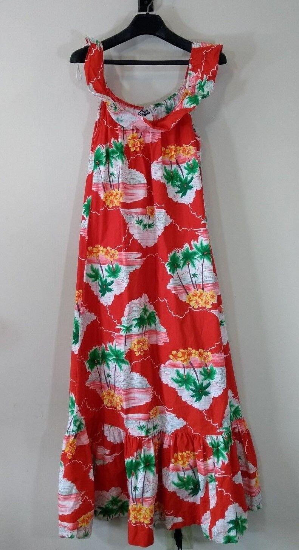 Hilo Hattie Hawaiian Muu Muu Maxi Dress rot Floral Palm Trees XS