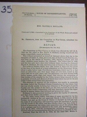 Vintage gov report civil war James A. Bass Mississippi ...