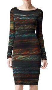 Knee Ruched Size Lori brand New Reiss M Dress Designer Length Sleeve Long vxS4EOwq