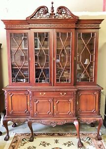 Solid-Mahogany-Breakfront-Chippendale-China-Hutch-Bookcase