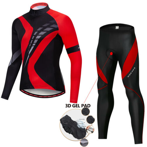 Men/'s Cycling Jersey Pants Set long sleeve Padded Tights Bike Bicycle Rider Suit