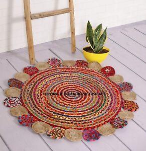 Jute Multi Colour Round Floor Rug Mat