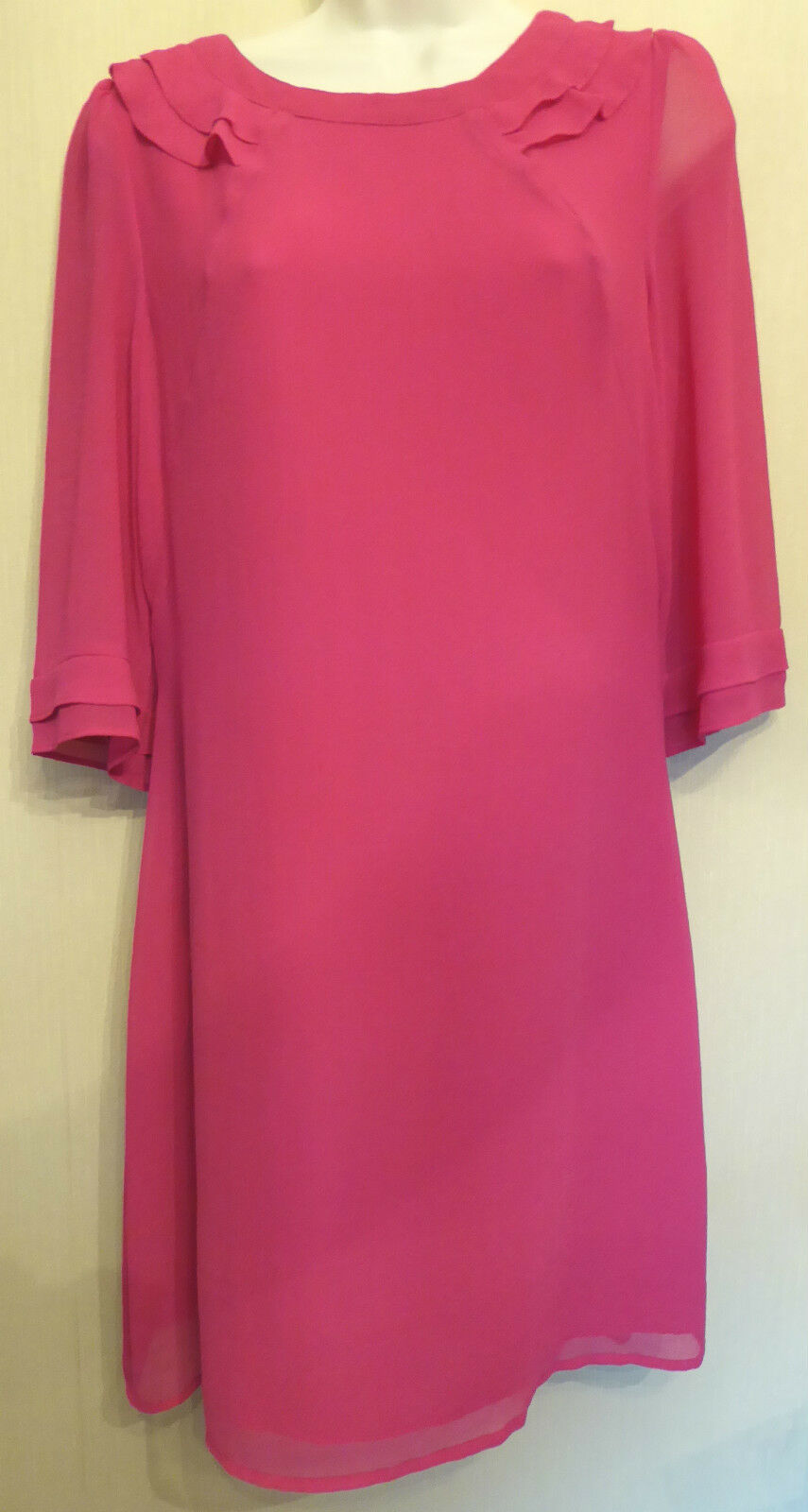 Oasis UK12 EU40 US8 new pink crepe shift dress with 3 4 length sheer sleeves