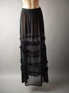 a5c195019536 Black Sheer Mesh Fishnet Tiered Ruffle Gothic Extra Long Maxi 242 mv ...