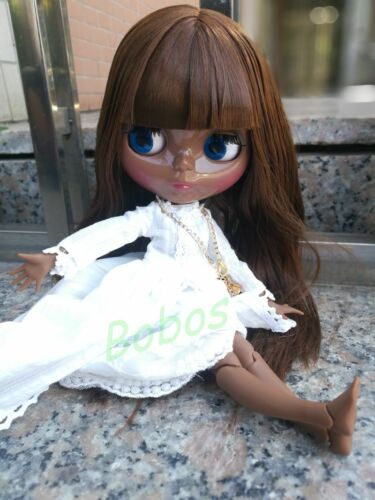 Blythe Nude Doll from Factory Jointed Body Super Back Skin Brown Long Hair
