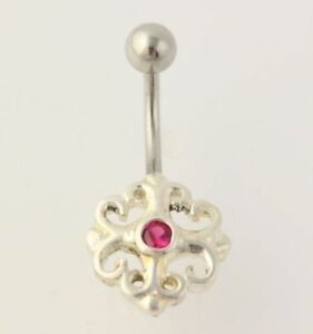 Details About Synthetic Ruby Belly Button Ring 925 Sterling Silver Stainless Steel Red 10ct