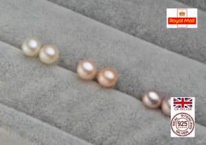 UK Boxed AAA Quality Freshwater Cultured Pearl Sterling Silver Earrings