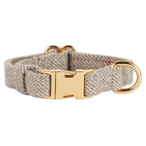 Thoroughbeds Gris Herringbone Tweed Collar de Perro//Cachorro Polar Suave Tamaño Ajustable