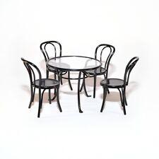 Gartentisch + 4 Stühle schwarz Black Metal Table Set Puppenstube 1:12 Art DF1428