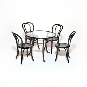 Table de Jardin + 4 Stühle Noir Black Metal Set Maison Poupée 1:12 ...