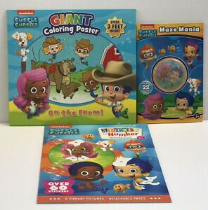 3-Nickelodeon-Bubble-Guppies-Sticker-Activity-Maze-Mania-Books-Coloring-Poster