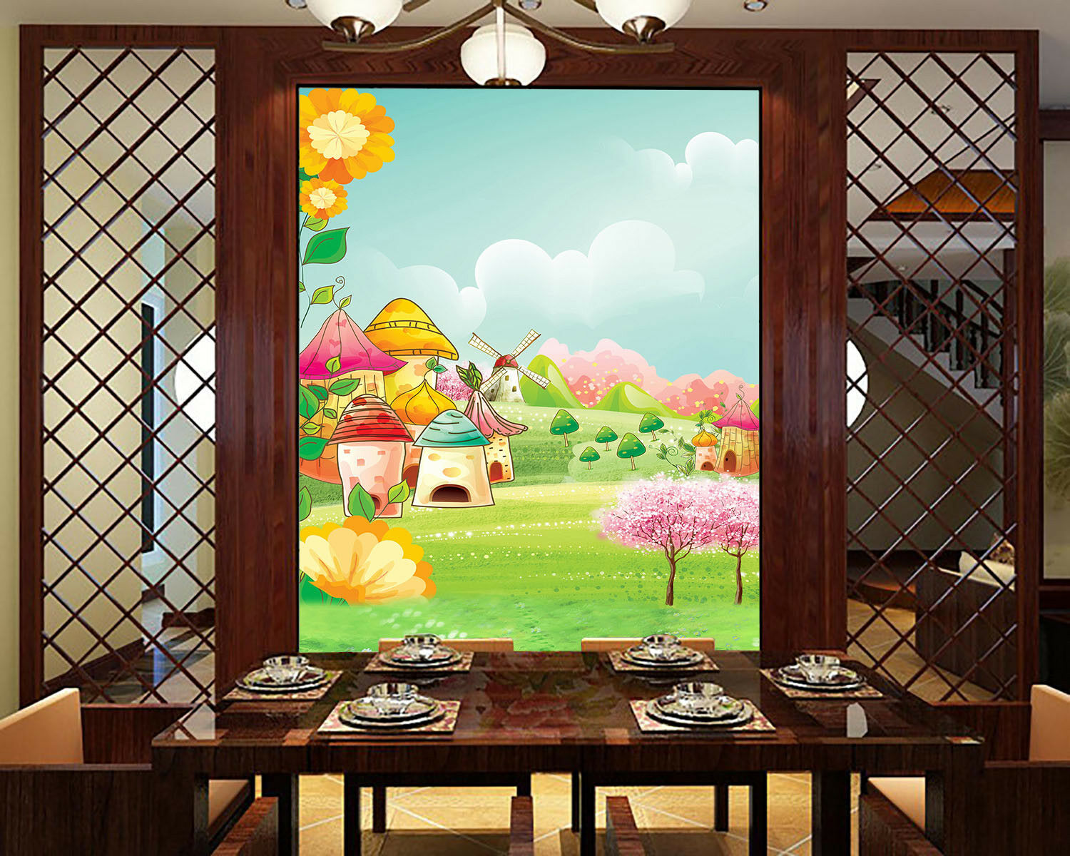 3D House WaterFarbe 6 Wall Paper Wall Print Decal Wall Deco Indoor Mural Summer