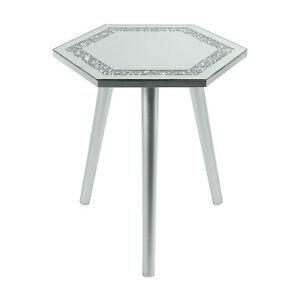 Mirrored Glass Hexagon Side End Coffee Table Multicrystal Silver Grey 38x33x40cm