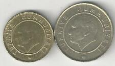 2 DIFFERENT COINS from TURKEY - 5 & 25 KURUS (BOTH DATING 2011)
