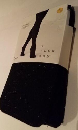 Womens A New Day Brand Black Ebony Silver Shine Sweater Tights S//M M//L L//XL