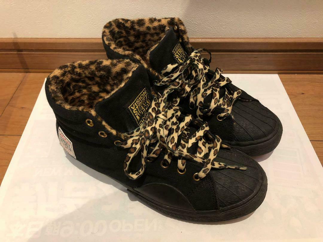 Used Vision Street Wear × Ehyphen Sneakers 24.5cm L Size Animal Pattern