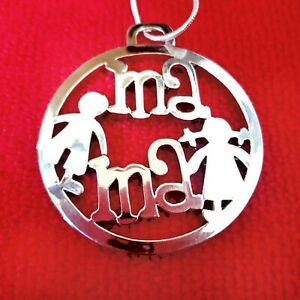 LOVELY-Mother-039-s-Day-Extra-Long-Necklace-Silver-Tone-Mama-Son-amp-Daughter