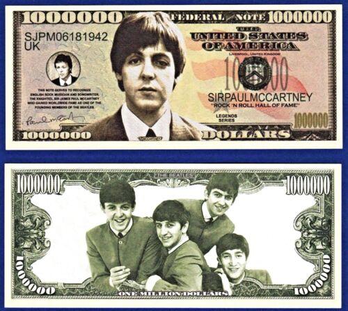 N2 1-Paul McCartney  The Beatles Dollar Bills Music-Novelty Collectible-Money