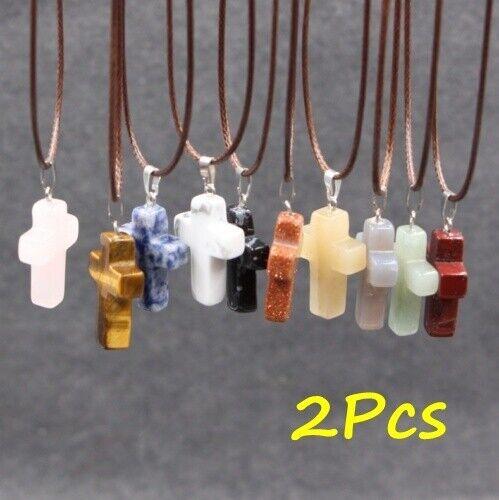 2X Cruz Piedra Cuarzo Natural De Cristal Colgante Collar de Curación Chakra De Cuero UK