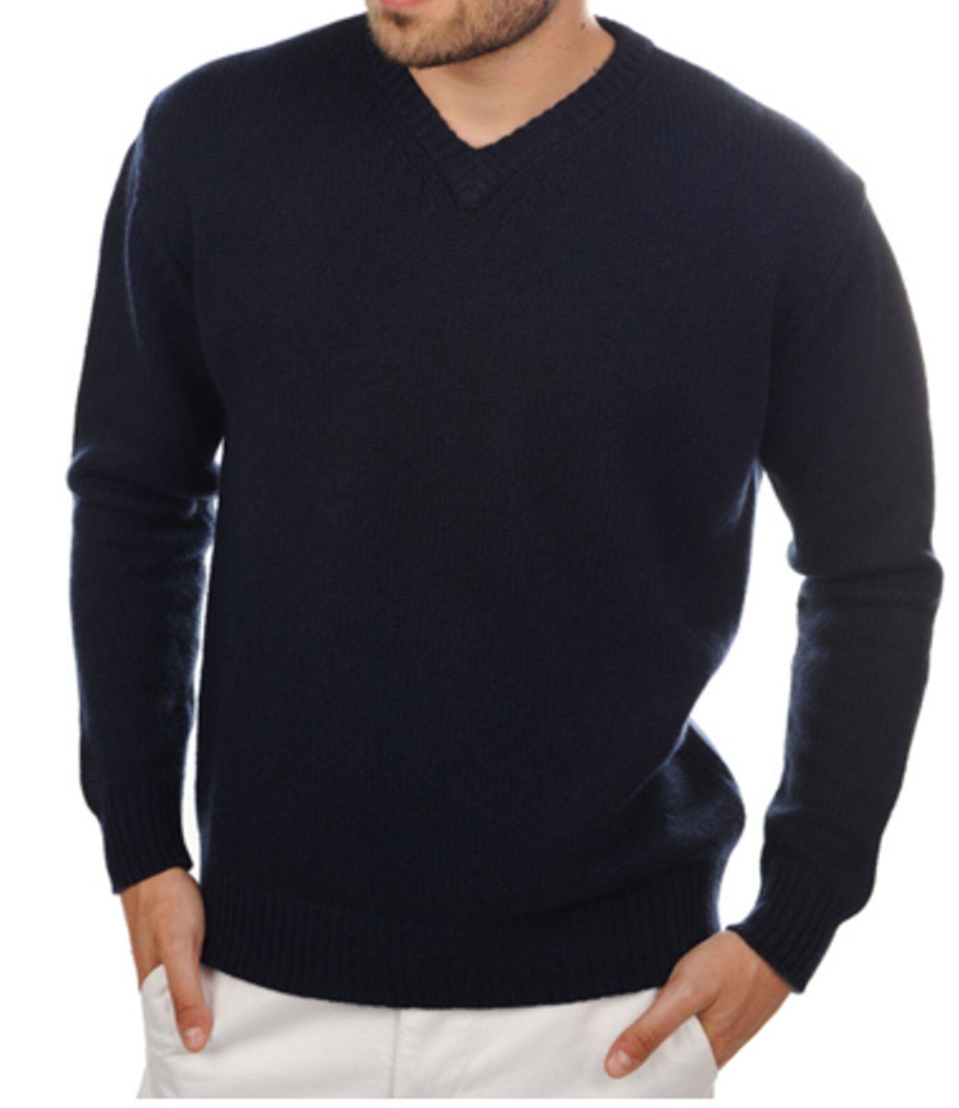 Balldiri 100% Cashmere Kaschmir Herren Pullover V Ausschnitt dunkelblau 8-fäd.XL