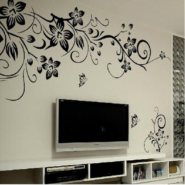 Decor Black Vines Butterfly Removable Decal Vinyl Wall Sticker DIY New