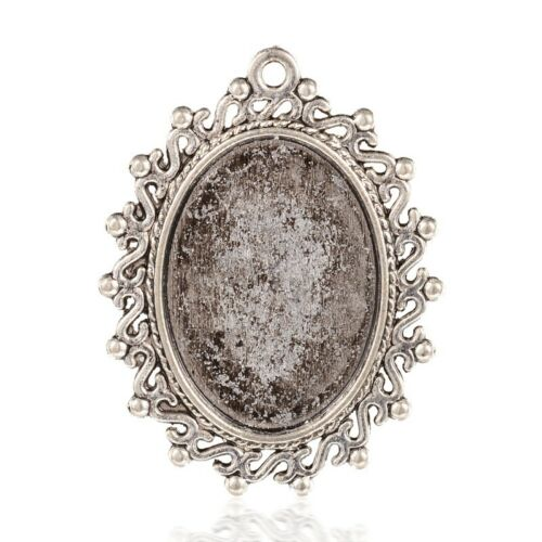 10 pcs Antique Silver Oval Tibetan Alloy Pendant Cabochon Settings Tray 18x25mm