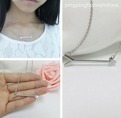 New Arrow Pendant Necklace Stainless Steel Silver Gentle Lady's Chain Jewelry
