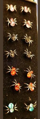 3 pequeña araña piercings para nariz Piercing elegir 3 Rosa Negro Rojo Azul Plata Halloween