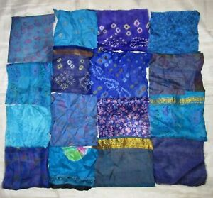 LOT-PURE-SILK-Antique-Vintage-Sari-Fabrics-REMNANT-5-034-20-pc-8-034-16-pc-SQUARES