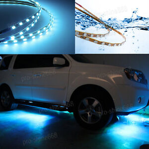 Image Is Loading New 4x Ice Blue LED Strip Under Car