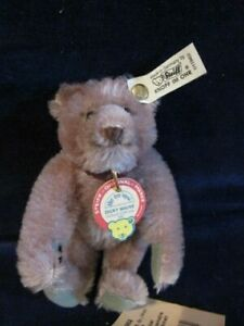 Steiff-Bear-011962-Dicky-Mauve-Violet-Mohair-1991-Ltd-Ed-16cm-Jointed-S3