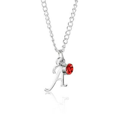"""Personalised Birthstone April Silver Plated Initial Letter 18/"""" Necklace A to Z"""