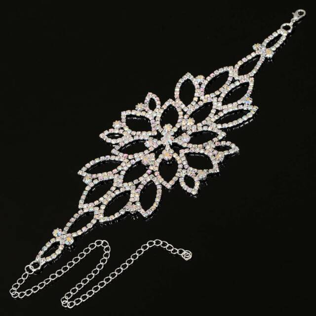 Woman Bridal Wedding Arm Jewelry Crystal Rhinestone Wristband Harness Bracelet