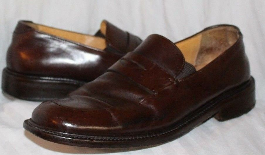 Paolo Loafers De Marco Mens Brown Leather Casual Dress Loafers Paolo Shoes Slip On 9M de0202