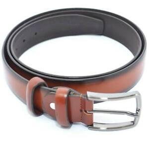 Cintura uomo fibbia alta made in italy ecopelle cuoio bruciato stile vintage mar