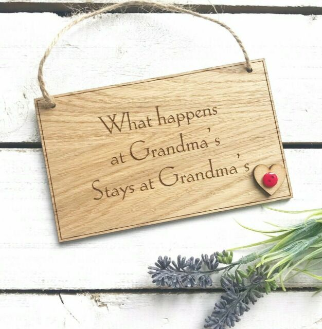What happens at Grandma/'s,Nanny/'s Nanna/'s fun wooden sign plaque birthday gift