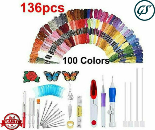136pcs Magic Embroidery Pen Punch Needle Set Knitting Sewin Y2X2 Crafts Too A6L6