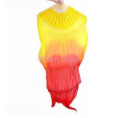 sr Bunte Multicolor handgemachte Bauchtanz Seide Bambus lange Fächerschleier 1