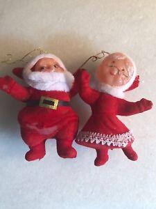 Vintage-Flocked-Mr-And-Mrs-Santa-Claus-Christmas-Ornaments-Plastic