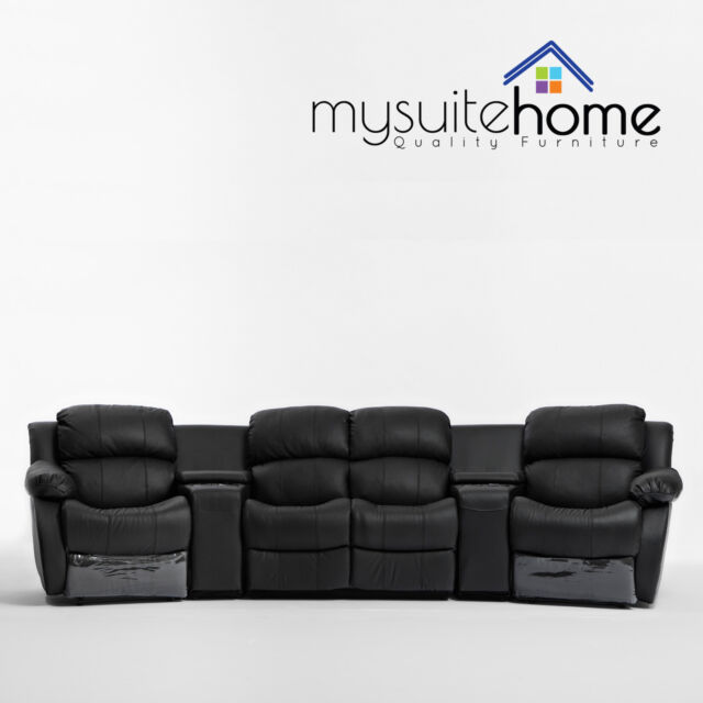 Nikki Brand New Black Leather 4 Seater Home Theatre Lounge Suite 2 Recliner Sofa