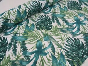 GREEN-PALM-LEAVES-Cotton-Fabric-Curtain-Upholstery-Tropical-Leaf-140cm-wide