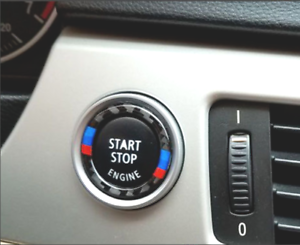 For-BMW-E90-E92-E93-Carbon-Fiber-Engine-Switch-Start-Stop-Button-Ring-Cover-Trim